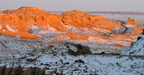Second Mesa in winter--notice there are 2 villages on top of sunlit cliffs. photo by Sandra Cosentino