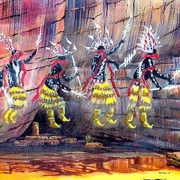 Ancestral Puebloan Spiritual Beings Painting